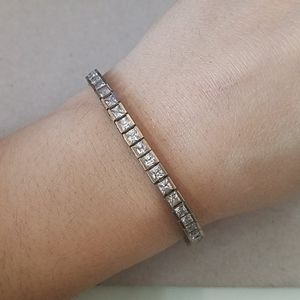 Sterling Silver and CZ Square Bracelet